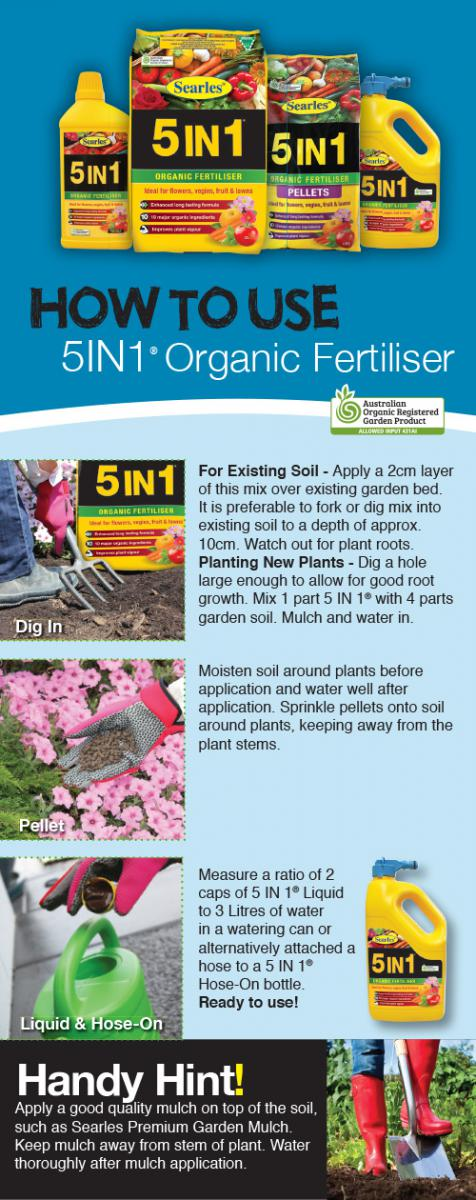 How to use 5 IN 1 Organic Fertiliser - on vegetable, fruit, gardens and lawns