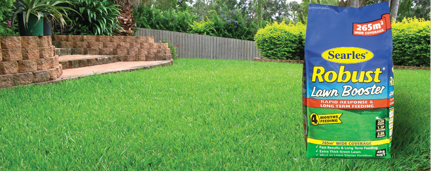 How to fertilise your lawn for lush green grass - Searles Robust Booster