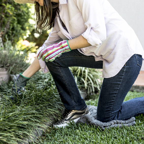 Kneel down on one knee to prevent back pain while gardening - prevent gardening injuries