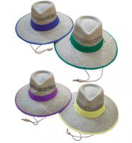 Straw Hats With Coloured Brim
